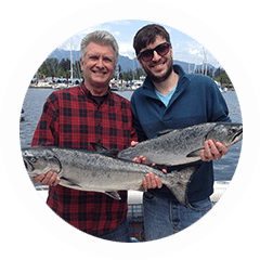 Two salmon caught in the Vancouver waters