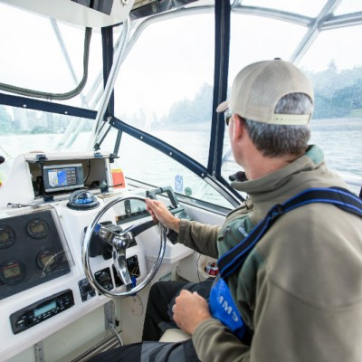 Viewing the boat of Pacific Angler's Vancouver Salmon Fishing Charter