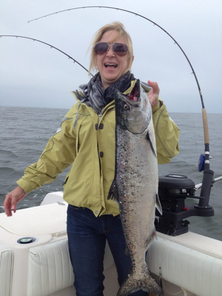 Dora pulled in this fantastic winter chinook salmon