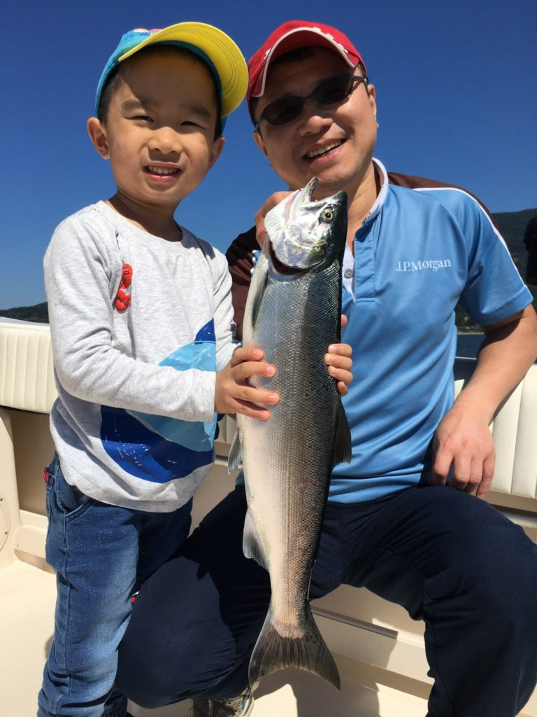 His first coho salmon fishing trip was a success